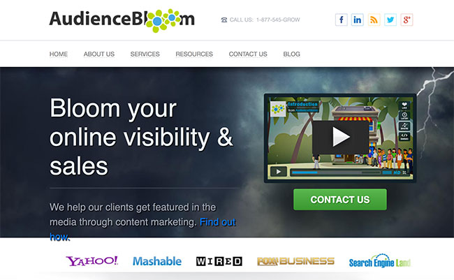 Site para compra de links chamado Audience Bloom